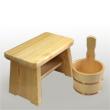 檜(ひのき)のお風呂セット(銅タガ):手付きひのき湯桶
